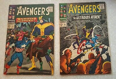THE AVENGERS #33(FN) #36(FN+) ~ 12c ~  Silver Age SUPER HEROES ~ Vintage comics