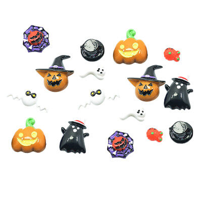 16x HALLOWEEN Resin Flatback Cabochon Embellishments for Scrapbooking Crafts