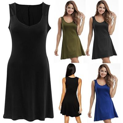 Womens Cotton Blend Sleeveless Long T-shirt Casual Mini Dress Short Skirt Blouse