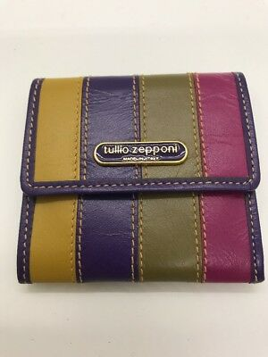 Beautiful Tullio Zepponi Made In Italy Colorful Wallet Coin Purse Vintage