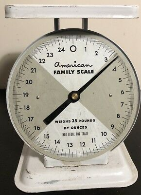 Vintage White AMERICAN FAMILY SCALE 25 lbs by ounces, No Glass