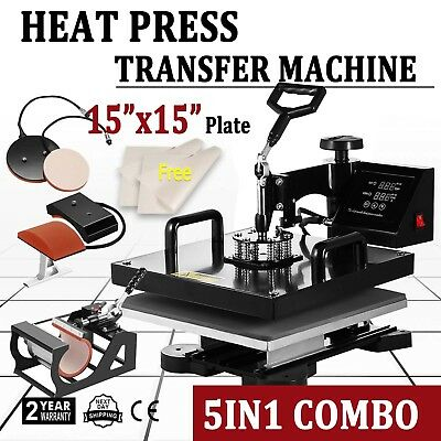"15""x15"" 5IN1 Combo T-Shirt Heat Press Transfer Pressing Machine Cap Swing Away"