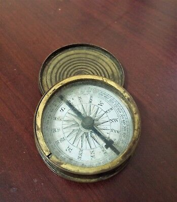 Antique Victorian (?) brass pocket compass with lid
