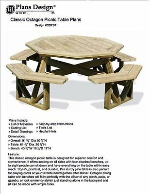 Classic Large Octagon Picnic Table / Bench Woodworking Project Plans  Patt... New