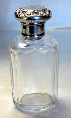 Antique Victorian Hand Cut Crystal Perfume Bottle with  Sterling Silver Cap