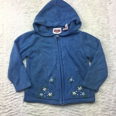 VTG Girls Sweater Cardigan Flowers Embroidery Hooded Zip Up Blue Toddler Size 2T