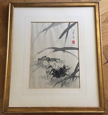 Antique Japanese Original Black And White Ink Painting On Silk,signed & Sealed.