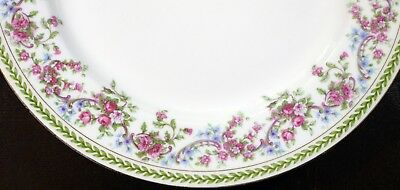 """Jean Pouyat JPL Limoges Pink Roses and Ribbons with Leaf Trim Dinner Plate 9.75"""""""