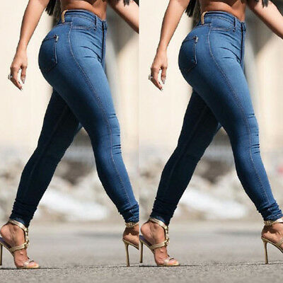 Womens Skinny Denim Casual Jeans High Waist Jeggings Pants Slim Stretch Trousers
