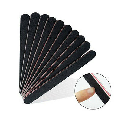 2/10/20X Large Black Emery Board Nail Files Double-sided Manicure Pedicure Tools