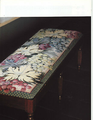 Frosted Grapes Leaves Stool  Elian McCready Tapestry Needlepoint Chart in Colour