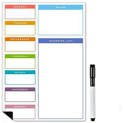 A3 Multicoloured Magnetic Weekly Meal Planner by The Magnet Shop®