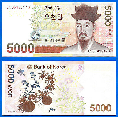 Korea South  5000 won 2006 UNC Prefix JA Plant Butterfly Free Shipping Worldwide