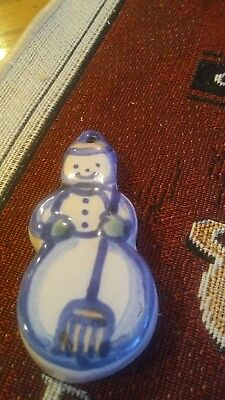 M.A. Hadley art pottery 3 inches tall snowman  ornament