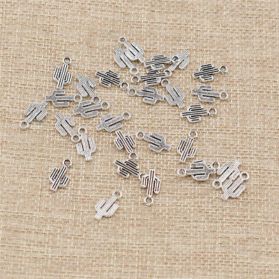 30 Pcs Tibetan Silver Cactus Shaped Charms Pendants Beads for Jewelry Making DIY