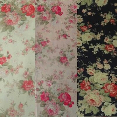 100% Cotton Poplin Floral Roses Fabric, Vintage Flowers in Navy, Cream & Pink