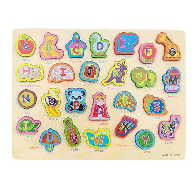 2-in-1 Wooden ABC Alphabet & Animal Jigsaw Puzzle Board Kids Toy Educational