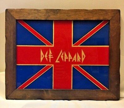 Def LeppardVintage Carnival Mirror 1980's Picture Union Jack Flag 19X15 Wood