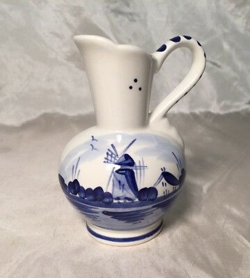 "Vintage 4"" Royal Delft Blue & White Bud Flower Vase Pitcher Handle WINDMILL NEW"