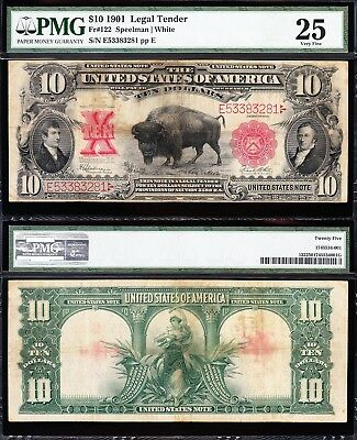 "VERY NICE Bold & Crisp VF 1901 $10 ""BISON"" US Note! PMG 25! FREE SHIP! E53383281"