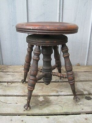 Vintage Wooden Piano Stool With Glass Ball & Metal Claw Feet (CONS)