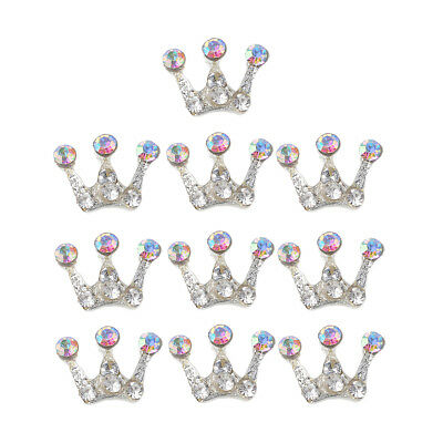 10X Crystal Diamante Crown Flatback Embellishment Button DIY Scrapbook Craft