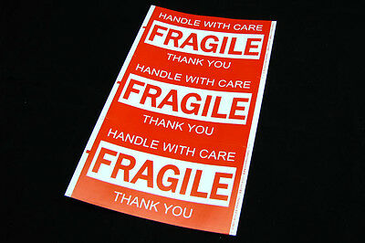 600x Fragile Handle With Care Thank You Adhesive Label 127x76mm Sticker Sheet