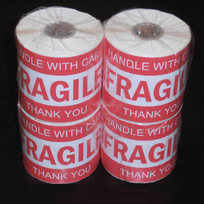 1000PCS 76x50mm Fragile Handle With Care Thank You Adhesive Label Sticker Roll