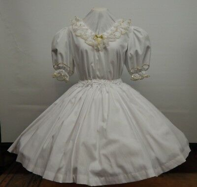 2 Piece White And Gold Square Dance Dress
