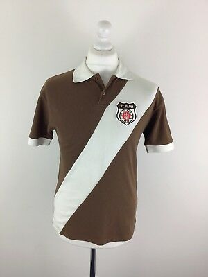 FC St. Pauli 1910 Mens Brown White Football Vintage Polo Shirt Small