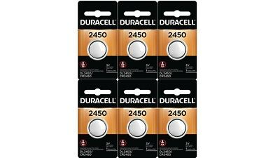 6 x 2450 Duracell Lithium 3V Coin Cell Batteries (CR2450, DL2450, ECR2450)