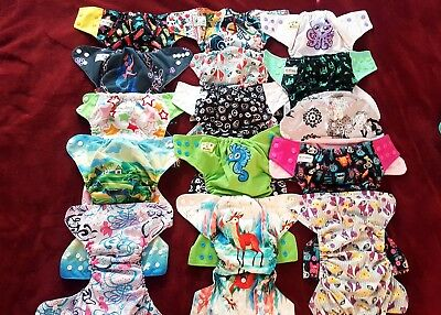 Mixed Pocket Cloth Diapers Lot Of 15