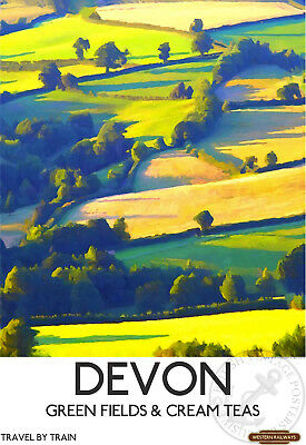 VINTAGE RAILWAY POSTER Devon Cream Teas Wall ART PRINT Train Travel Advert A3 A4
