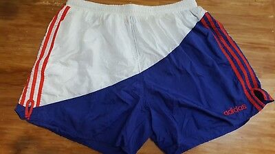 Vintage ADIDAS 80s 90s Soccer Jogging Shorts Red White Blue Size XL