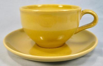 Casual Avocado Yellow Flat Cup & Saucer Set Iroquois Russel Wright Chartreuse O2