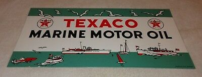 "Texaco Marine Motor Oil W/ Boats 22"" X11"" Porcelain Metal Gasoline & Oil Sign Nr"