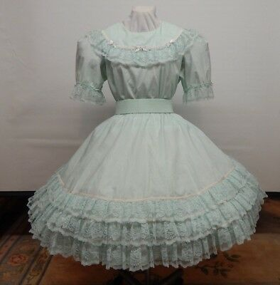 2 Piece Soft Green And Lace Square Dance Dress