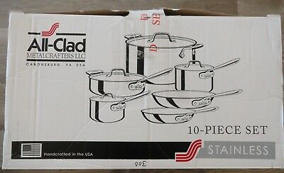 All-Clad Metalcrafters Handcrafted In USA 10-Piece Stainless Cookware Set