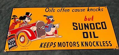 """Sunoco Motor Oil Mickey Mouse, Donad Duck & Pluto 24"""" Porcelain Metal Gas  Sign!"""