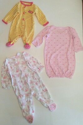 Lot Of 3 Baby Girl Sleepers, Sizes: Preemie, New Born, 0-3 Mos, And 3-6 Mos Euc