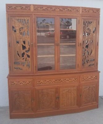 Vintage Hand Carved Wood Oriental China Cabinet Hutch Johnson's Carved Furniture