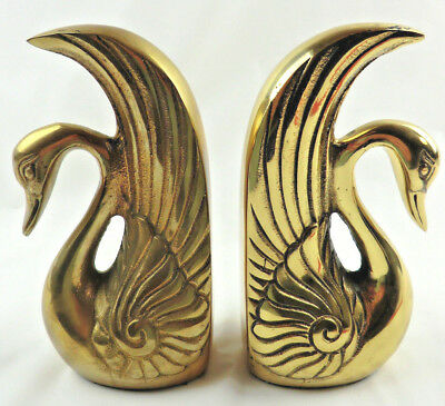 Vintage Art Deco Heavy Brass Swan Bookends