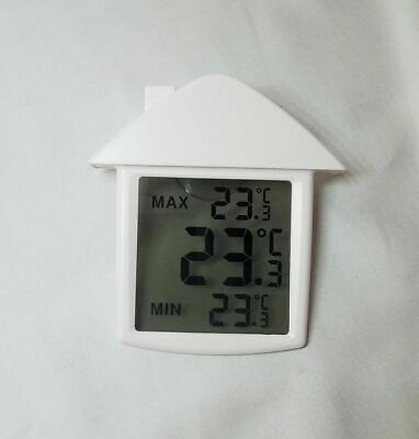Indoor Window Digital Thermometer Clear See-Thru Display Max/Min, Suction Cup