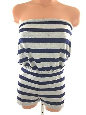 77b0865f6a6 Susana Monaco New Size S Black   Gray Striped Romper Strapless Cotton Blend