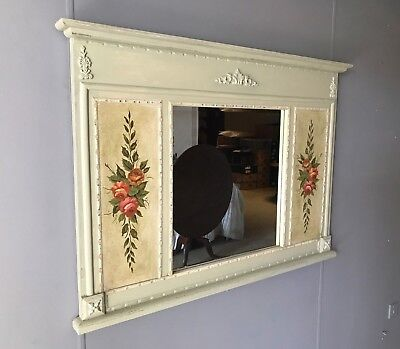 Large Vintage Antique French Style Bevelled Wall Mirror Ornate F&B Painted Frame