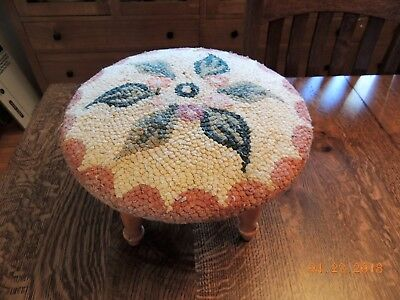 """Vintage 12"""" Round Country Floral Rose Upholstered Foot Stool Original Tag"""