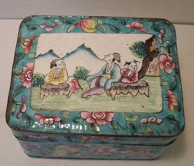 Antique Chinese Hand-Painted Enamel Over Copper Trinket Box.