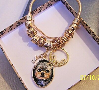 hand painted Yorkie on  gold plated crystal charm bracelet    Love