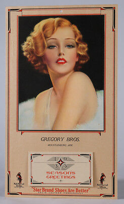 1935 Victor Tchetchet Pin-up Advertising Calendar For Poll-Parrot Shoes Fabulous
