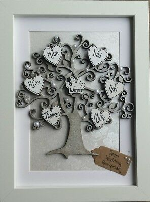 Pearl Wedding Anniversary Gift 30th 30 Years Personalised Family Tree